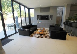 Livingroom, Open-plan, Tiled Floor, Bi-Fold Doors