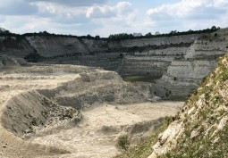 Chalk Quarry With Derelict Building's For Filming